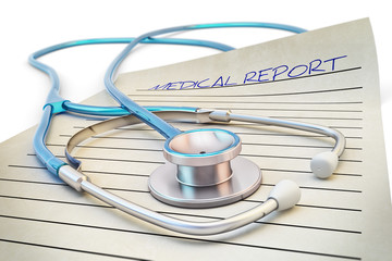 Healthcare and medicine concept, stethoscope and blank report form of medical examination on white background