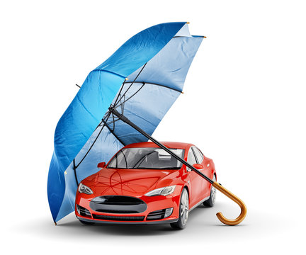 Car insurance and safety assurance concept, modern red automobile under blue umbrella, isolated on white background
