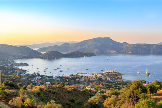 Selimiye cityscape during sunset in Marmaris, Turkey