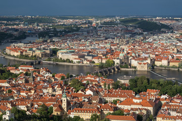 View of the Mala Strana (Lesser Town) and Old Town districts and Vltava River in between in Prague, Czech Republic, from above.