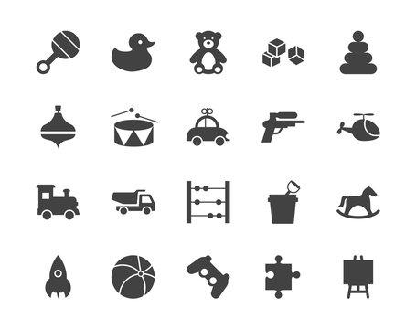 Toys silhouettes icons set