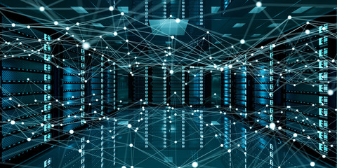 Abstract network on server room data center 3D rendering Wall mural
