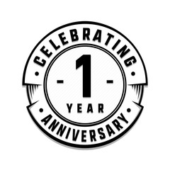 1 year anniversary logo template. Vector and illustration.