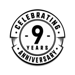 9 years anniversary logo template. Vector and illustration.
