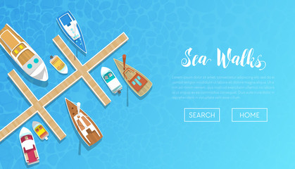 Sea Walks Banner with Yachting Tour Advertisement. Yachts and Boat Trip. Beach Vacation. Vector illustration
