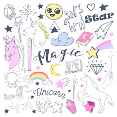 Freehand Kids Magical Doodle with Unicorn and Rainbow. Hand Drawn Fairytale Elements Set. Vector illustration