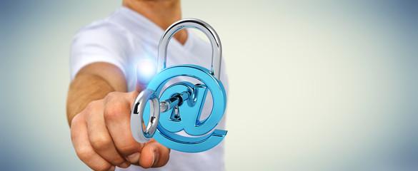 Businessman using 3D rendered digital padlock to secure his internet datas