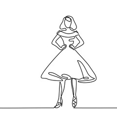 Silhouette of slender woman bride in midi dress. Continuous line drawing. Vector illustration