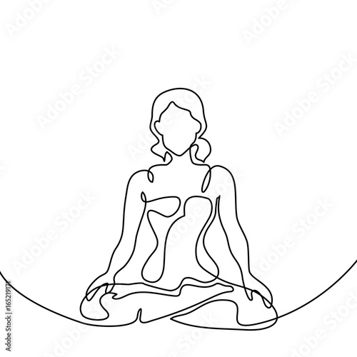 Continuous Line Drawing Woman Doing Exercise Yoga Lotus Pose Vector Illustration