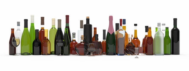 Collection of alcoholic bottles isolated 3d rendering