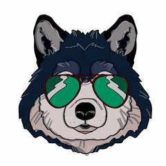 wolf head and sunglasses