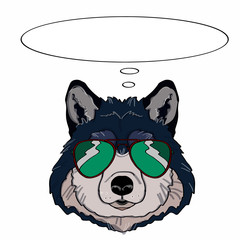wolf head and sunglasses and thinking balloon
