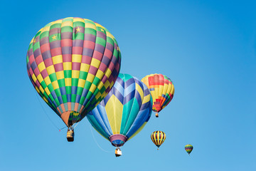 Multi colored hot air balloons in bright morning sky
