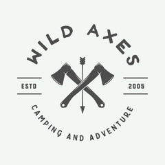 Vintage camping outdoor and adventure logo, badge, labels, emblem, mark. Monochrome Graphic Art. Vector Illustration.