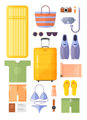 Objects for traveling. Summer vacation, tourism and journey. Beach rest. Hand luggage and suitcase.