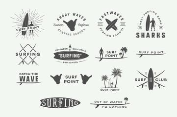 Obraz Set of vintage surfing logos, emblems, badges, labels and design elements. Graphic vector Illustration - fototapety do salonu