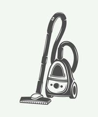 Vintage vacuum cleaner in retro style. Monochrome Graphic Art. Vector Illustration.
