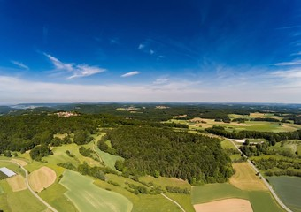 Aerial photo of the landscape of the franconian suisse near the village of Biberbach, Germany - Bavaria