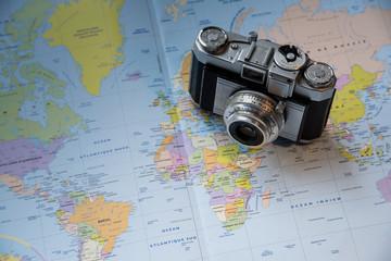 appareil photo vintage carte dessus