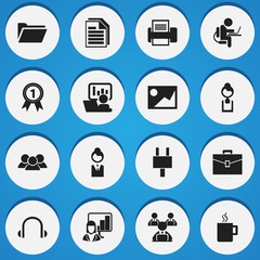 Set Of 16 Editable Office Icons. Includes Symbols Such As Worker With Laptop, Earphone, Group And More. Can Be Used For Web, Mobile, UI And Infographic Design.