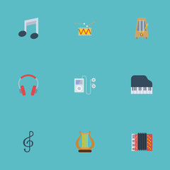 Flat Icons Quaver, Octave Keyboard, Mp3 Player And Other Vector Elements. Set Of Music Flat Icons Symbols Also Includes Clef, Headphones, Note Objects.
