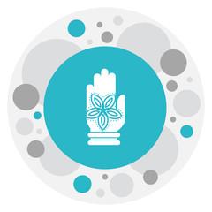 Vector Illustration Of Dyne Symbol On Fatima Hand Icon. Premium Quality Isolated Hamsa Element In Trendy Flat Style.