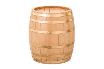Wooden barrel, 3D rendering