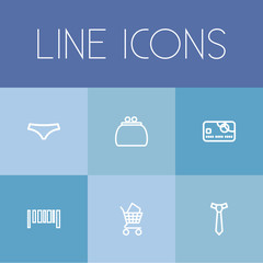 Set Of 6 Editable Trade Outline Icons. Includes Symbols Such As Bar Code, Money Purse, Pay And More. Can Be Used For Web, Mobile, UI And Infographic Design.
