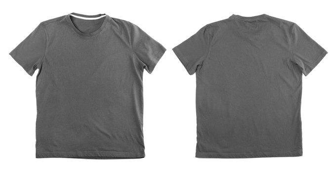 Different views of t-shirt on white background