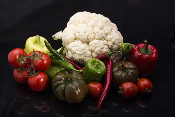 Colorful fruits and vegetables black arkapland