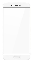 Front view of modern white smartphone with empty screen isolated on white background. Smart phone with clipping path