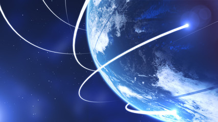 Planet earth from space with energy white streaks. Some elements of this image furnished by NASA. 3d illustration. Closeup earth orbit.