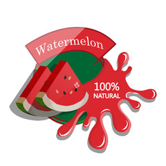 Realistic watermelon. Berry label with juice splash. Vector illustration isolated on white background. 100% natural organic fruit