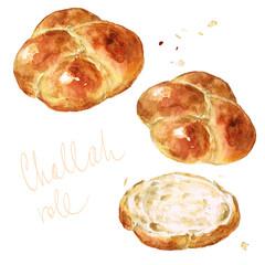 Challah roll. Watercolor Illustration.