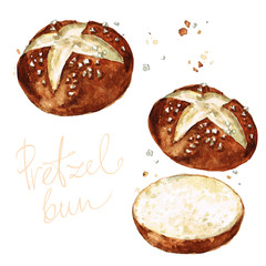 Pretzel bun. Watercolor Illustration.
