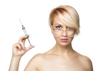 blond nurse with a syringe