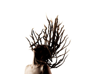 girl with dreadlocks in the air