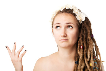 confused girl with dreadlocks