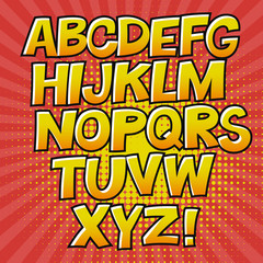 Comic alphabet and speech bubble element. Halftone circle on transparent background. Vector set. Comic text. Vector bubble icon speech phrase. Comics book balloon. Halftone background.