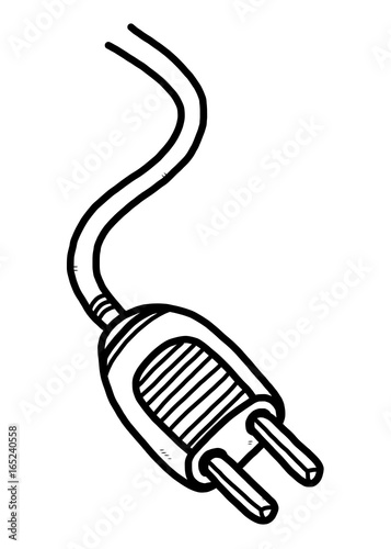 Electric Plug Cartoon Vector And Illustration Black And White