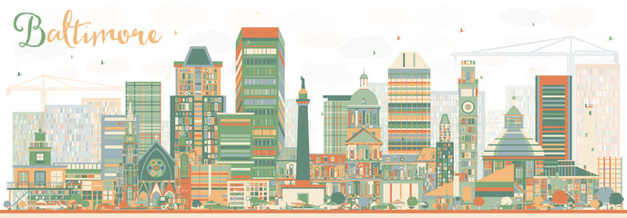 Abstract Baltimore Skyline with Color Buildings.