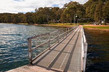 Long Wooden Jetty on Lake Macquarie Australia