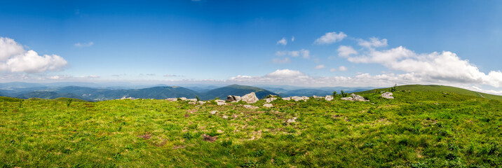 panorama of mountain ridge in summer