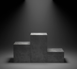 Empty concrete podium on spotlight background. 3D rendering.