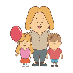 cute cartoon illustration of mother with two kids