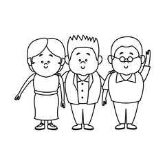 Family cartoon concept represented by grandparents with son icon. Isolated and Colorful illustration.