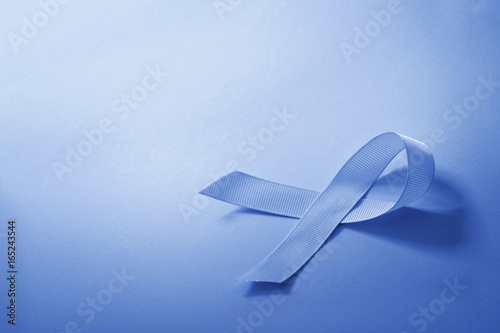 The Blue Color Tone Of Ribbon As Symbol For Cancer Awareness With
