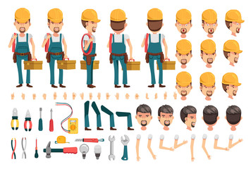 Electrician Electrician cartoon character creation set.Icons with different types of faces and hair style, emotions,icon,front, rear, side view of male person.Moving arms, legs.Vector