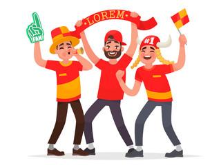 Guys fans cheer for their soccer team. Vector illustration