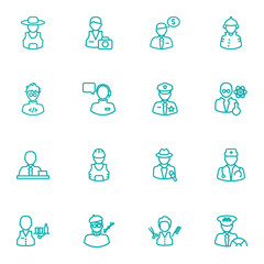 Set Of 16 Professions Outline Icons Set.Collection Of Scientist, Manager, Worker And Other Elements.